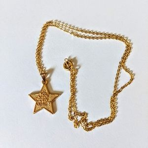 "Vintage Gold Star ""You Can Do It"" Pendant Necklace"